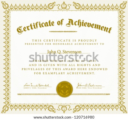 Vector Vintage Certificate of Achievement. Easy to edit. Perfect for diplomas or certificates.