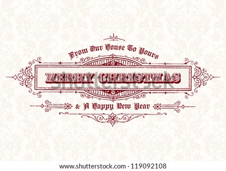 Vector Vintage Christmas Frame. Easy to edit. Perfect for invitations or announcements.
