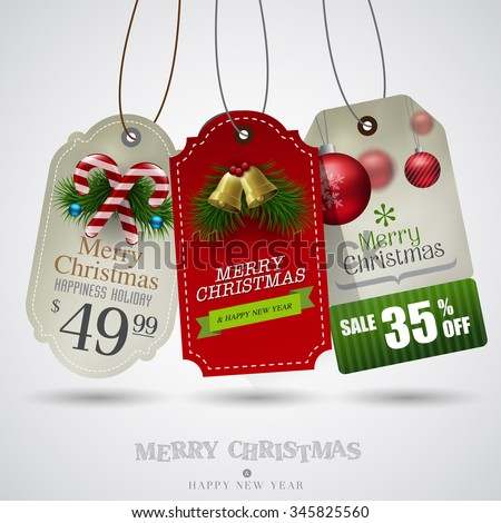Vector vintage Christmas sale tags