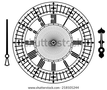 Vector vintage clock on white . Illustration clip art - stock vector