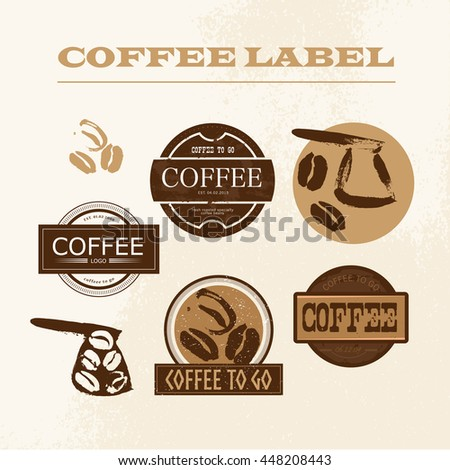 Vector vintage coffee shop emblem, logo design set isolated. Retro style coffee store label, insignia template. Coffee bean, coffee pot stamp hand drawn. Coffee seed icon.