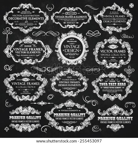 Vector vintage collection: Baroque and antique frames, labels, emblems and ornamental design elements on a chalkboard background