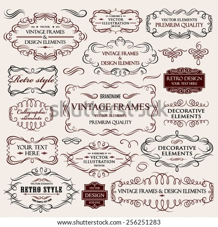 Vector vintage collection: Calligraphic frames and elements on a old paper textural background