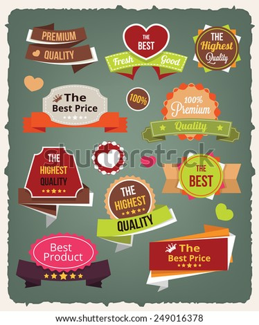 Vector vintage colorful stickers labels and badges set - stock vector