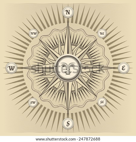 Vector vintage compass rose with the sun in the center - stock vector