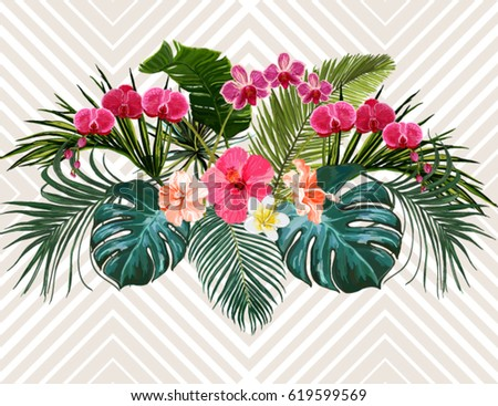 Vector Vintage Composition With Exotic Leaves And Tropical Flowers Botanical Classic Illustration Perfect For