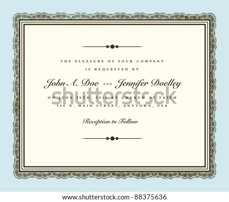 Vector Vintage Couture Wedding Invite Frame. Easy to edit. Perfect for invitations or announcements. - stock vector