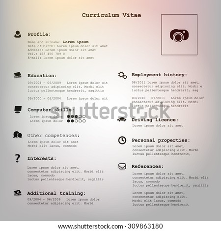 Vector vintage cv / resume - template