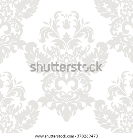 Vector Vintage Damask Pattern ornament in Classic style. Ornate floral element for fabric, textile, design, wedding invitations, greeting cards, wallpaper. Taupe, oyster pink color. - stock vector