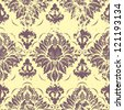 Vector vintage damask seamless pattern element. Grunge print style. - stock vector