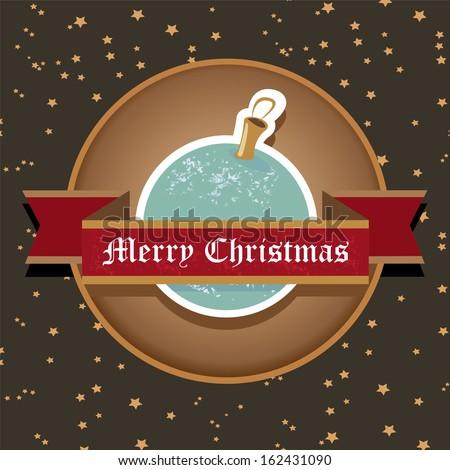 vector vintage decorative christmas ball on nignt sky background / merry christmas card  - stock vector