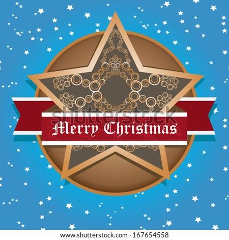 vector vintage decorative christmas star on night sky background / merry christmas card - stock vector