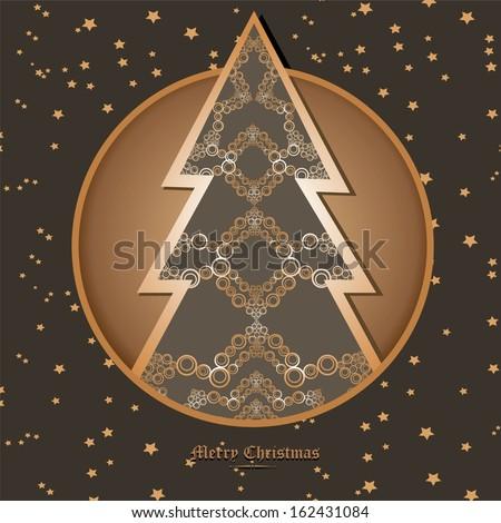 vector vintage decorative christmas tree on star sky background / merry christmas card  - stock vector