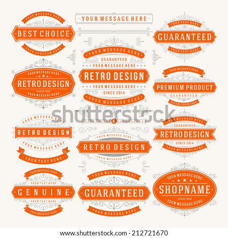 Vector vintage design elements. Premium quality labels, badges, logotypes, insignias, ornaments decorations, stamps, frames, sale signs best choice set. Retro style typographic flourishes elements.  - stock vector