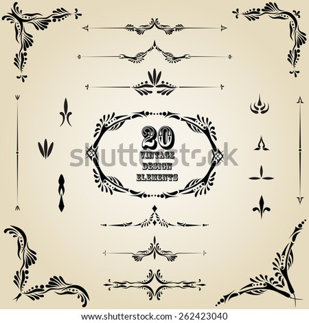 Vector vintage design label set. Retro premium decoration elements: floral elegant ornate old classic frame, border, corner, vignette for card, wedding invitation, greeting, banner. - stock vector