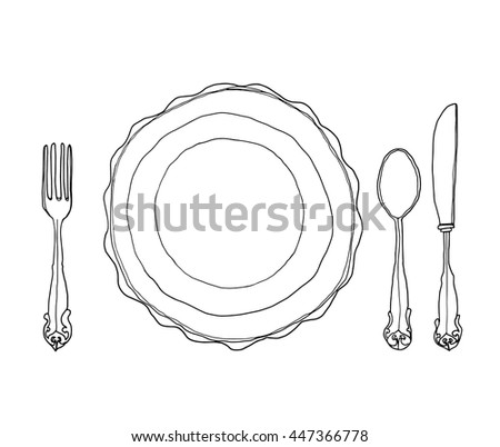 vector vintage dish plate fork and spoon hand drawn line art cute illustration - stock vector