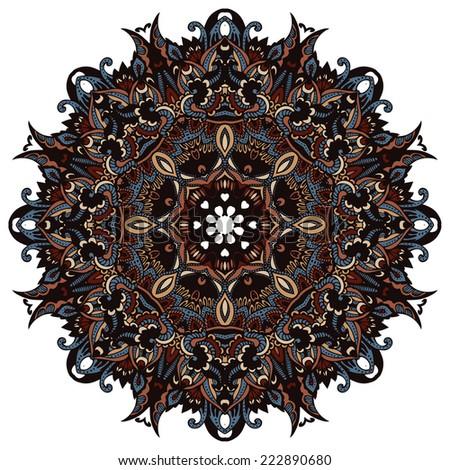 vector vintage ethnic ornamental mandala  kaleidoscopic design - stock vector