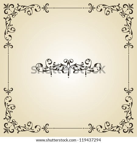 vector vintage floral frame and retro royal label on gradient background, fully editable eps 8 file - stock vector