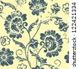 Vector vintage floral seamless pattern element. Grunge print style. - stock photo