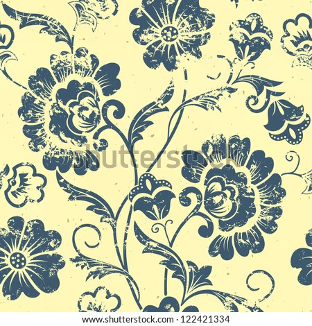 Vector vintage floral seamless pattern element. Grunge print style. - stock vector