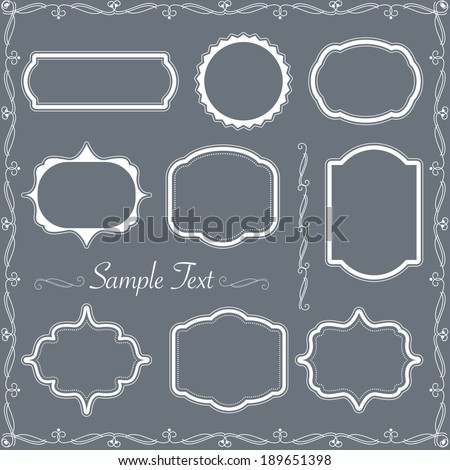 Vector vintage frame and ornament set - stock vector