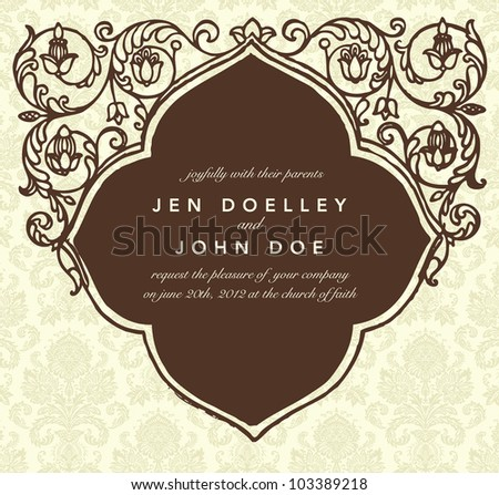 Vector Vintage Frame. Easy to edit. Perfect for invitations or announcements. - stock vector