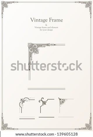 Vector - vintage frame & elements for your frame - stock vector