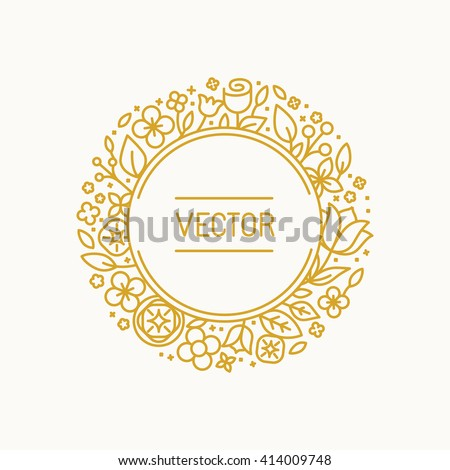 Vector vintage frame in trendy linear frame for florist shops and organic cosmetics - monogram design template with copy space for text with leaves and flowers and circle background