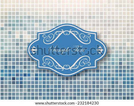 Vector vintage frame on mosaic background - stock vector