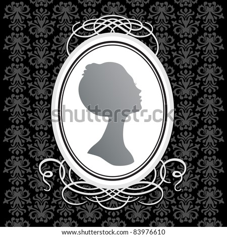 Vector vintage frame on the background of a seamless pattern. Insert your text or image. - stock vector