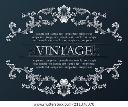 Vector vintage frame. Royal retro ornament decor black illustration - stock vector