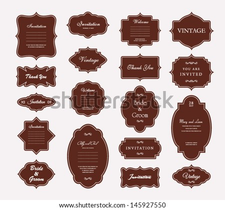 Vector Vintage Frame Set - stock vector