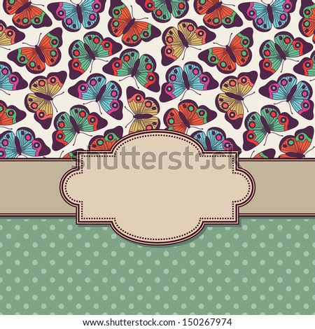 vector vintage frame with butterflies