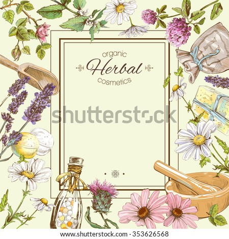 Vector vintage frame with wild flowers and herbs.Layout, mock up design for cosmetics, store, beauty salon, natural and organic products. Can be used like a greeting card. With place for text - stock vector