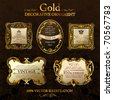 Vector vintage frames. Gold ornament label. Set five illustrations - stock vector