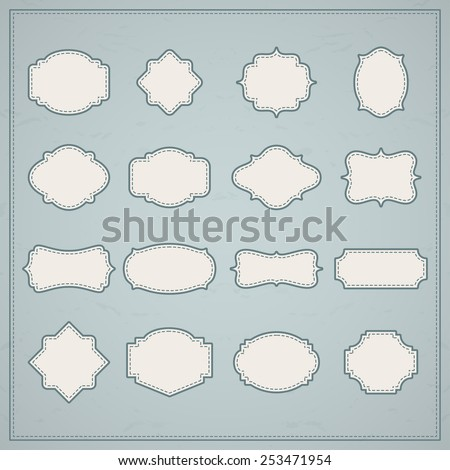 Vector vintage frames set on retro background. Design elements collection - stock vector