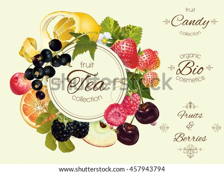 Vector vintage fruit and berry round banner .Design for tea, ice cream, jam, natural cosmetics, candy and bakery with fruit filling, health care products.. Can be used as logo design - stock vector