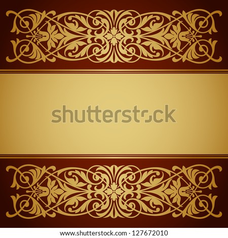 vector vintage gold border frame filigree with retro ornament pattern in antique baroque style ornate decorative background antique calligraphy design - stock vector
