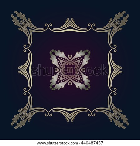 Vector vintage gold frame for your design. Place for text Unique ornamental decorative cover