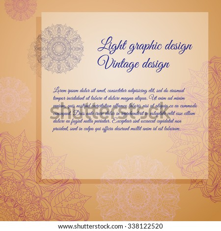 Vector vintage greeting card with lace, stamp. Place for your text.