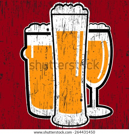 vector vintage group of three different glasses with light beer on red background - stock vector