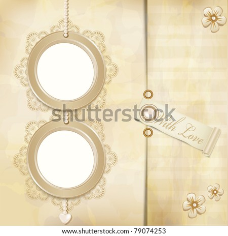 vector vintage, grunge background with two round photo frames and lace - stock vector
