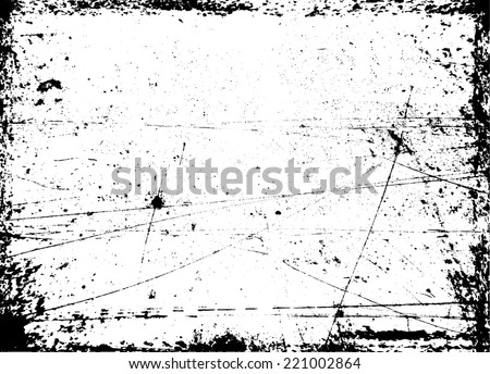 Vector Vintage Grunge Black and White Distress Border Frame with Scratch Texture