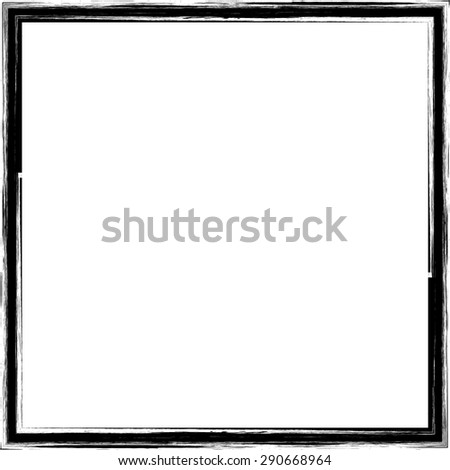Vector Vintage Grunge Brush Stroke Dirty Overlay Distress Border Frame. Square in Grungy Style for your Design . Overlay Texture . - stock vector