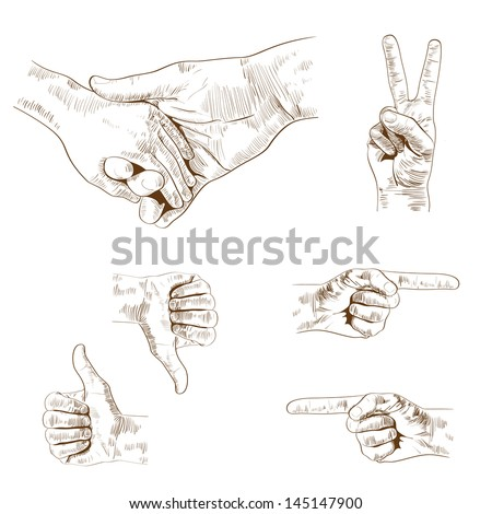 Vector vintage hands signs collection, retro styled hand drawn design elements set. - stock vector