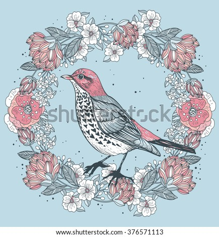 Vector vintage illustration of a bird and a floral wreath with blooming roses