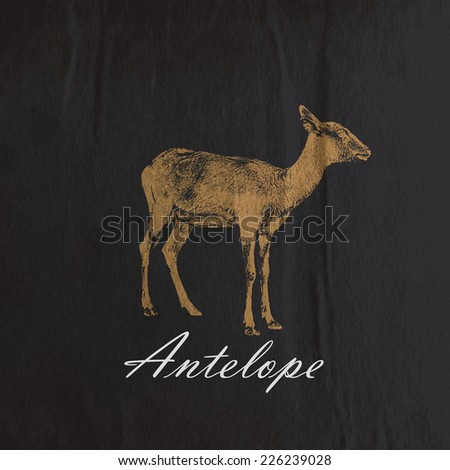 vector vintage illustration of an antelope or goat on the old wrinkled black paper background - stock vector