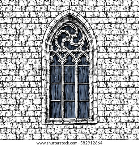 gothic window drawing images. Black Bedroom Furniture Sets. Home Design Ideas