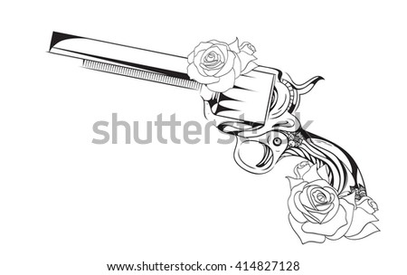 Vector vintage illustration of  revolver with roses.  element for tattoo design printed on a T-shirt, postcards and your creativity - stock vector
