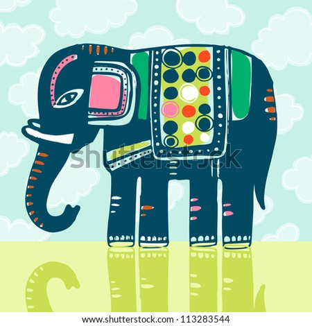 Vector vintage illustration with elephant - stock vector